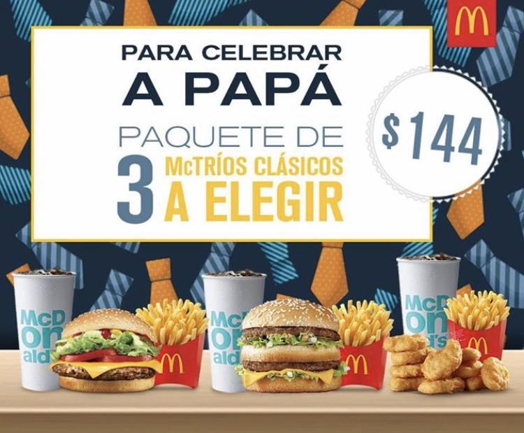 McDonald's: cupón para 3 Mctríos Classicos a Elegir por $144, solo hoy Día del Padre