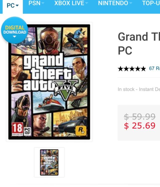 CDKeys: GTA V para PC + Otros Titulos