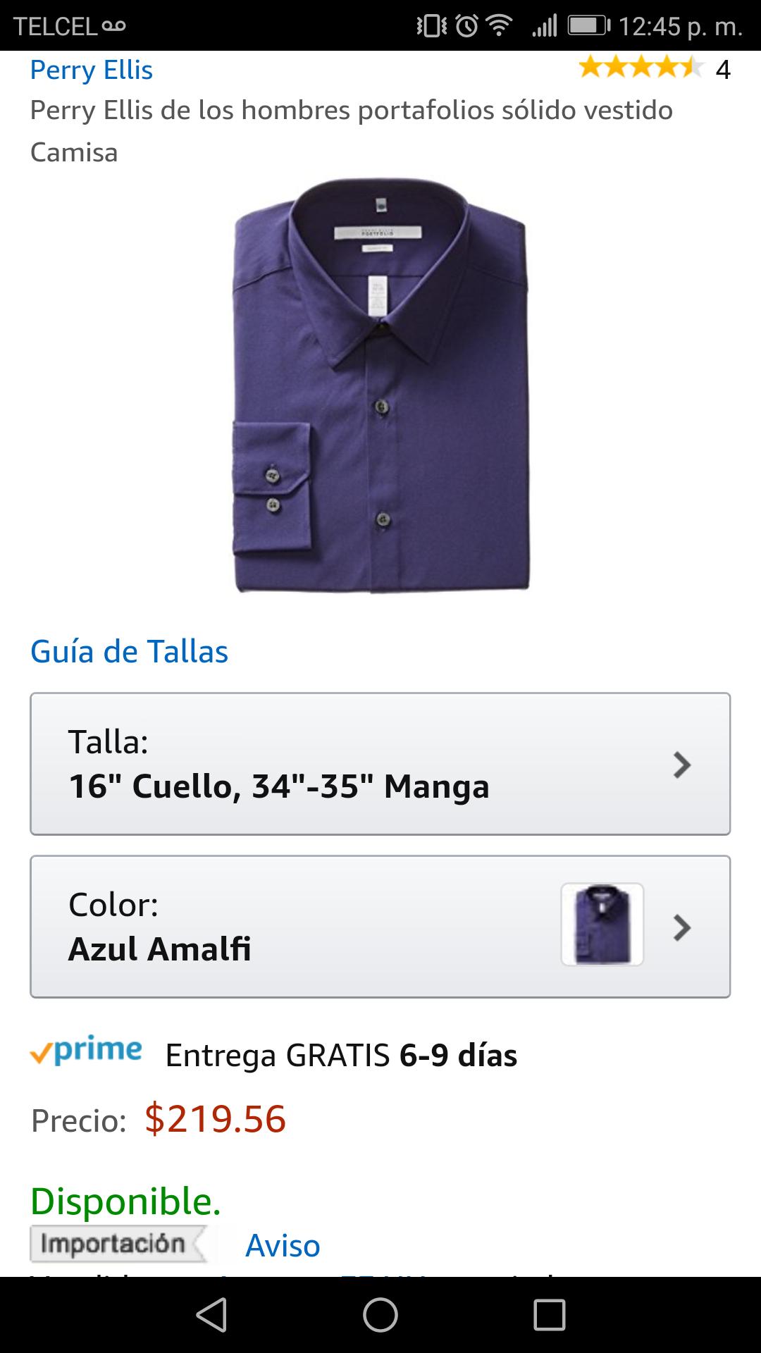 Amazon: Camisa Perry Elis talla 16 de cuello y 34-35 manga $219 aplica prime
