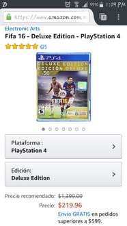 Amazon: FIFA16 Deluxe Edition para PS4