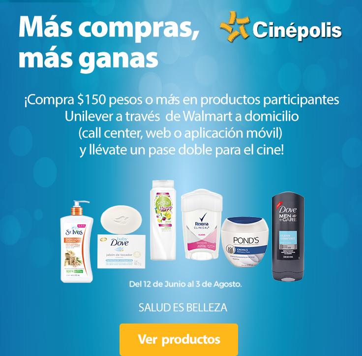 walmart en linea: compra $150 en productos unilever participantes y llevate gratis 2 boletos de cinepolis (solo funciones 2d).