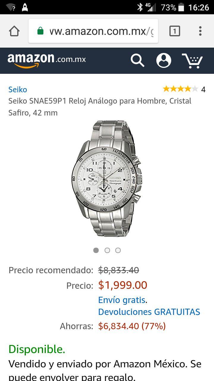 Amazon: Seiko SNAE59P1 Reloj Análogo para Hombre, Cristal Safiro, 42 mm