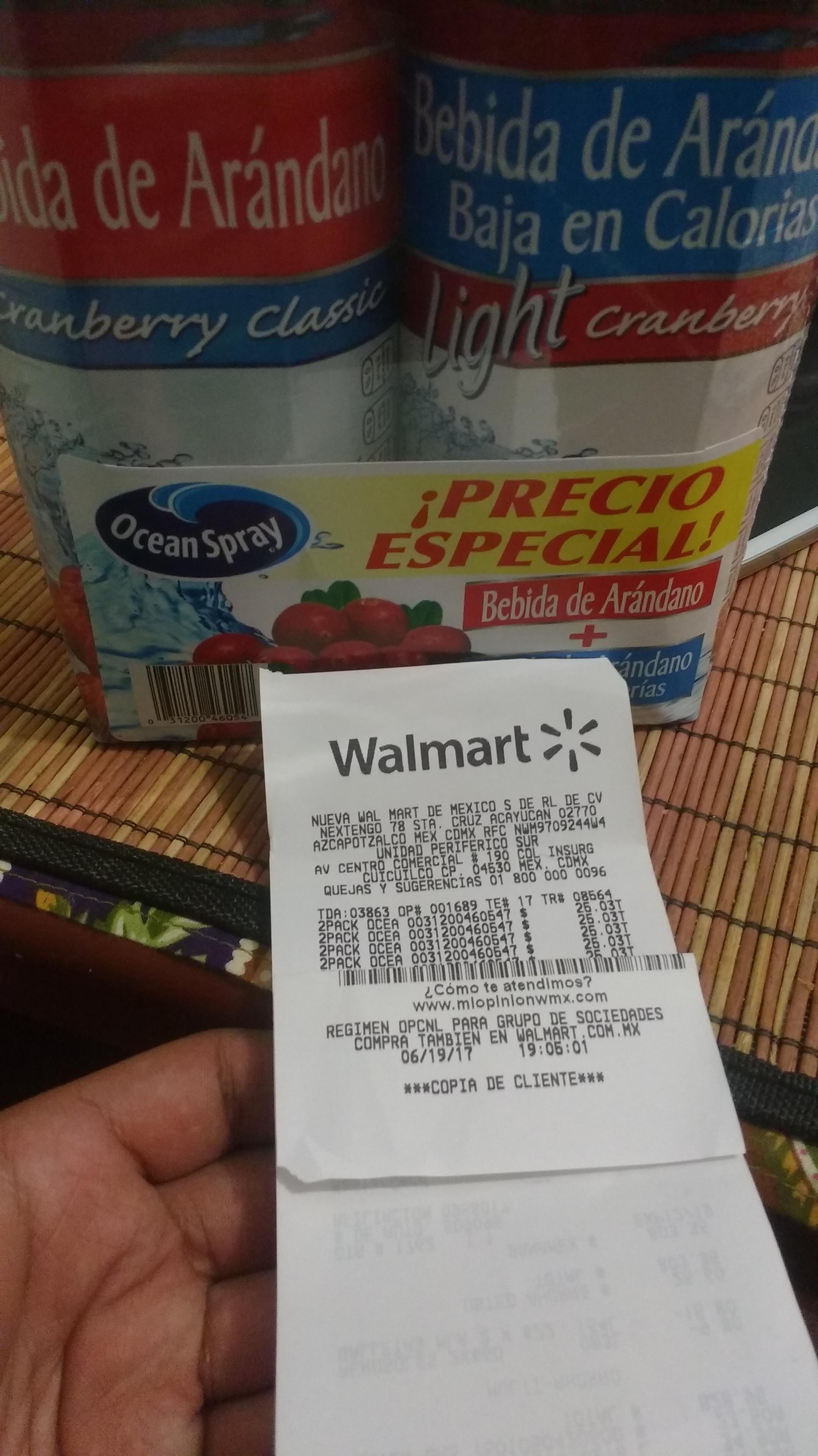 Walmart: 2pack Ocean Spray (ambos arándano)