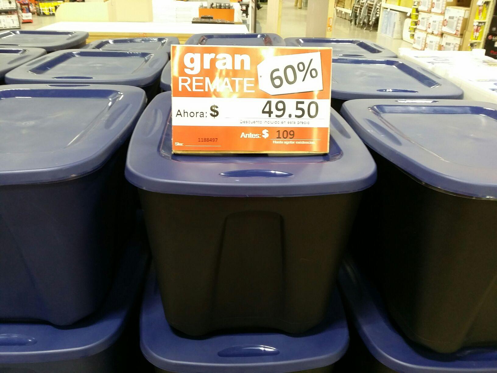 Home Depot: caja de plastico de 68 litros a $49.50