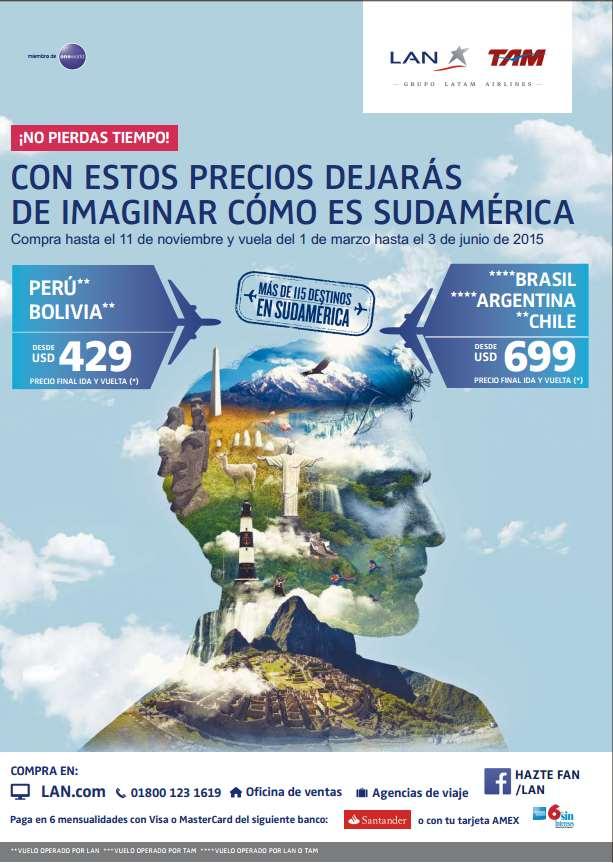 Vuelo redondo a Argentina, Chile, Brasil, Uruguay y Paraguay desde $699 dólares y más