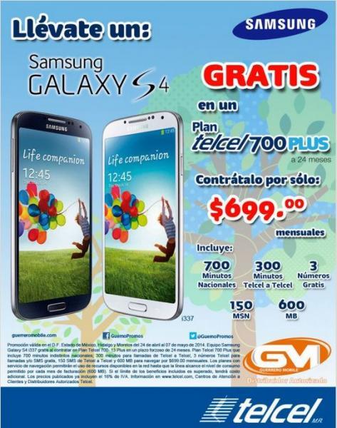 Telcel: Samsung Galaxy S4 gratis en plan de $699 o a $439 en plan de $499
