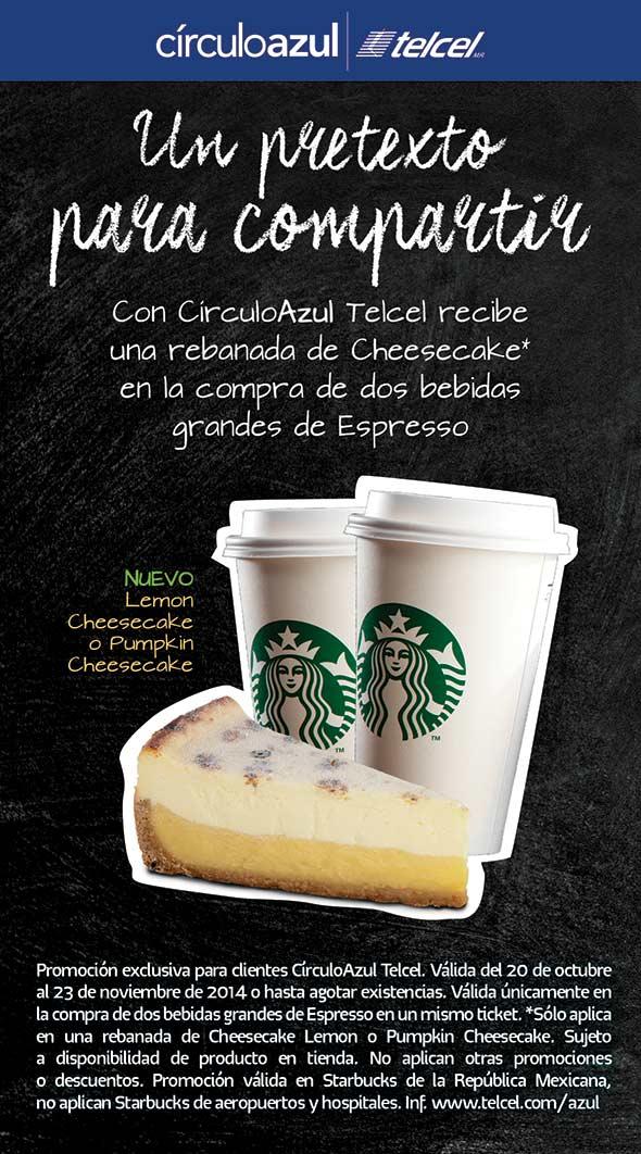Starbucks: cheesake gratis al comprar 2 cafés