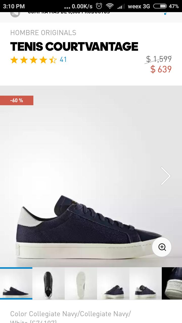 Adidas online : Tenis Courtvantage color azul y blanco