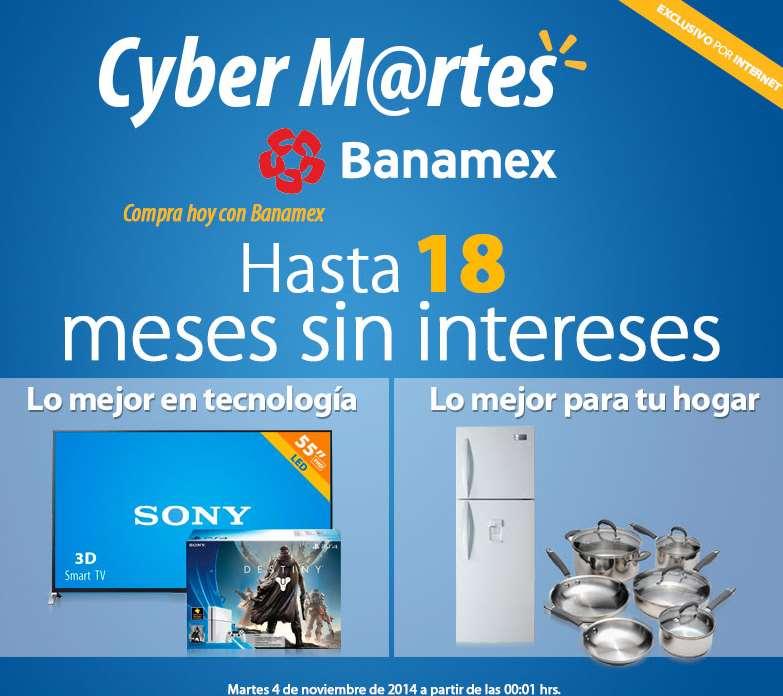Walmart: CyberMartes Banamex 4 noviembre hasta 18 meses sin intereses