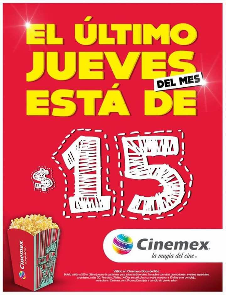 Cinemex Veracruz: entrada a $15 el último jueve del mes (sucursales y películas seleccionadas)