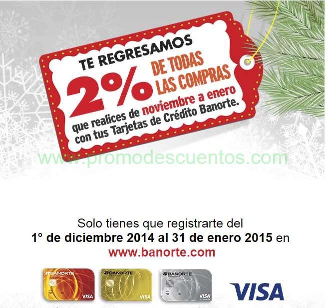 Banorte: 2% de bonificación en todas las compras con tarjeta de crédito incluyendo El Buen Fin