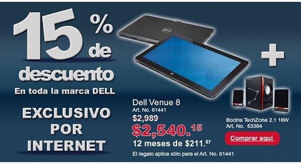 Office Depot: Mañana toda la marca Dell 15% de descuento por Internet.