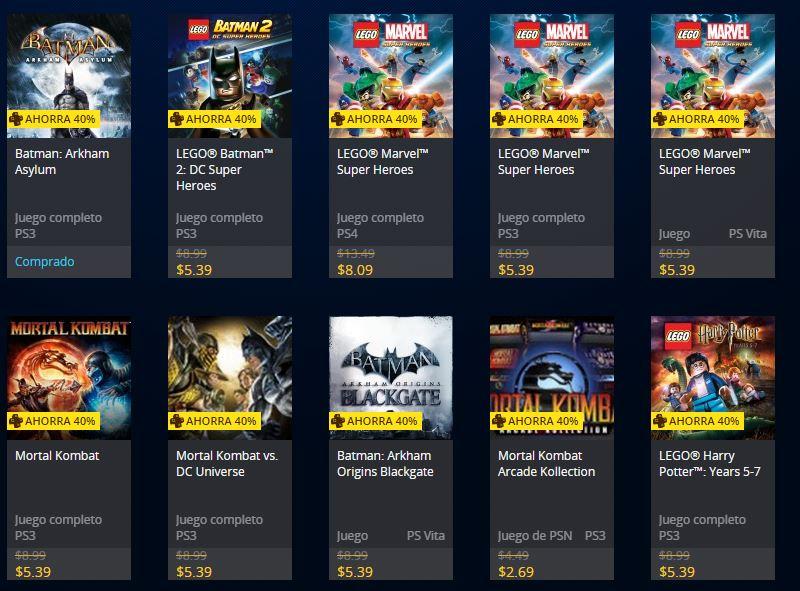 Oferta Juegos Warner Bros PSN Store (ejemplo LEGO MArvel Super Heroes desde US$5.39)