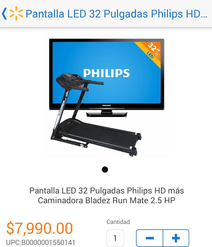 """Walmart: Caminadora más pantalla Philips 32"""" $7,990"""