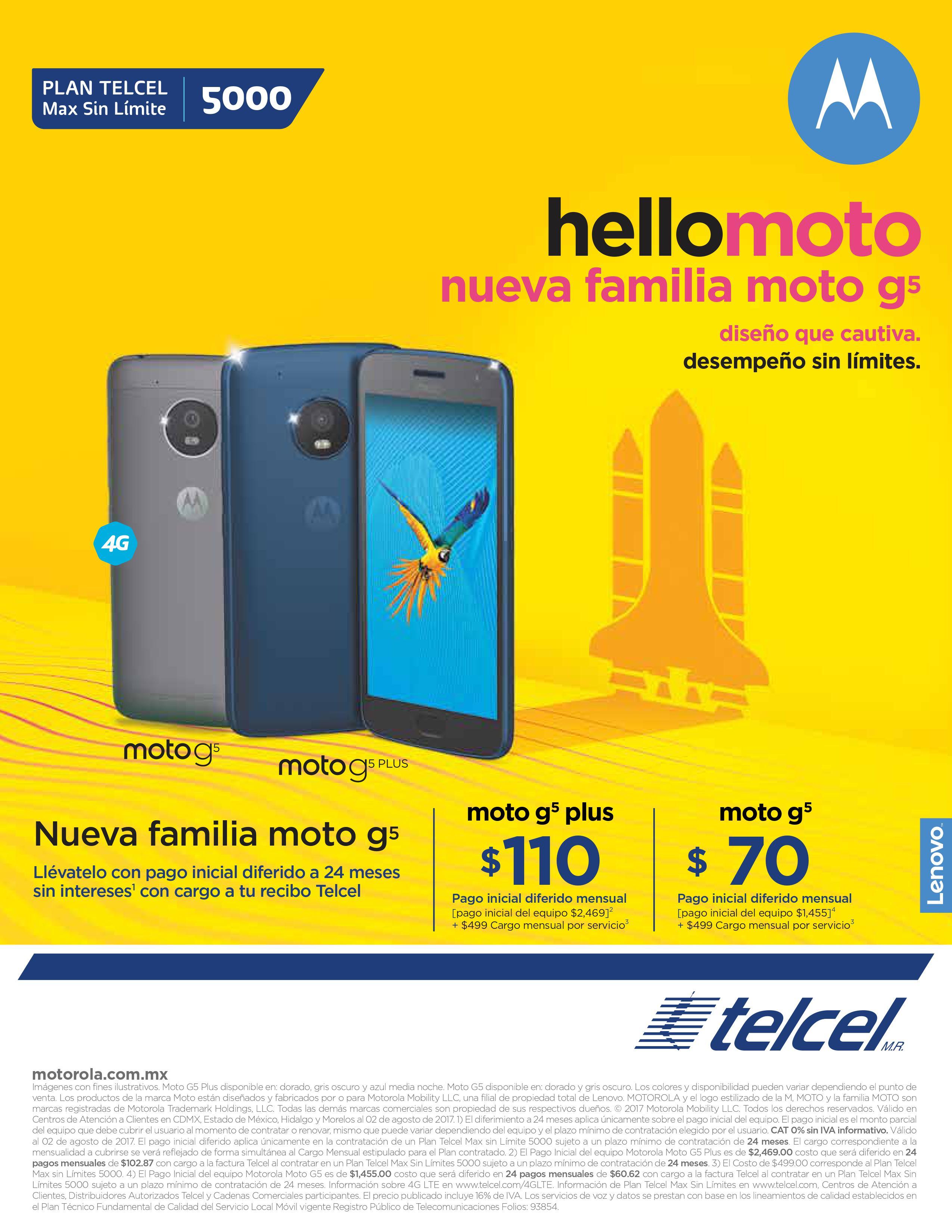 Motorola g5 y g5 plus en telcel Max Sin Límite 5000 y diferencia de equipo a MSI al contratar a 24 meses