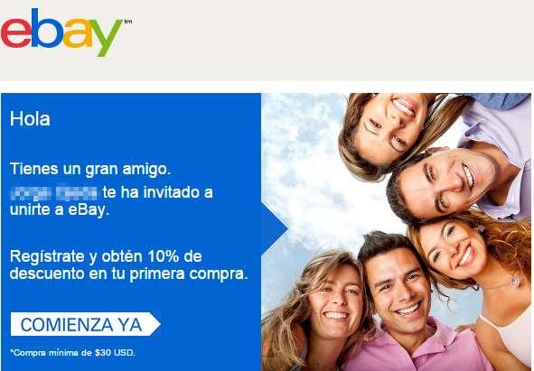 ebay: 10% de descuento en tu primera compra (clientes nuevos)