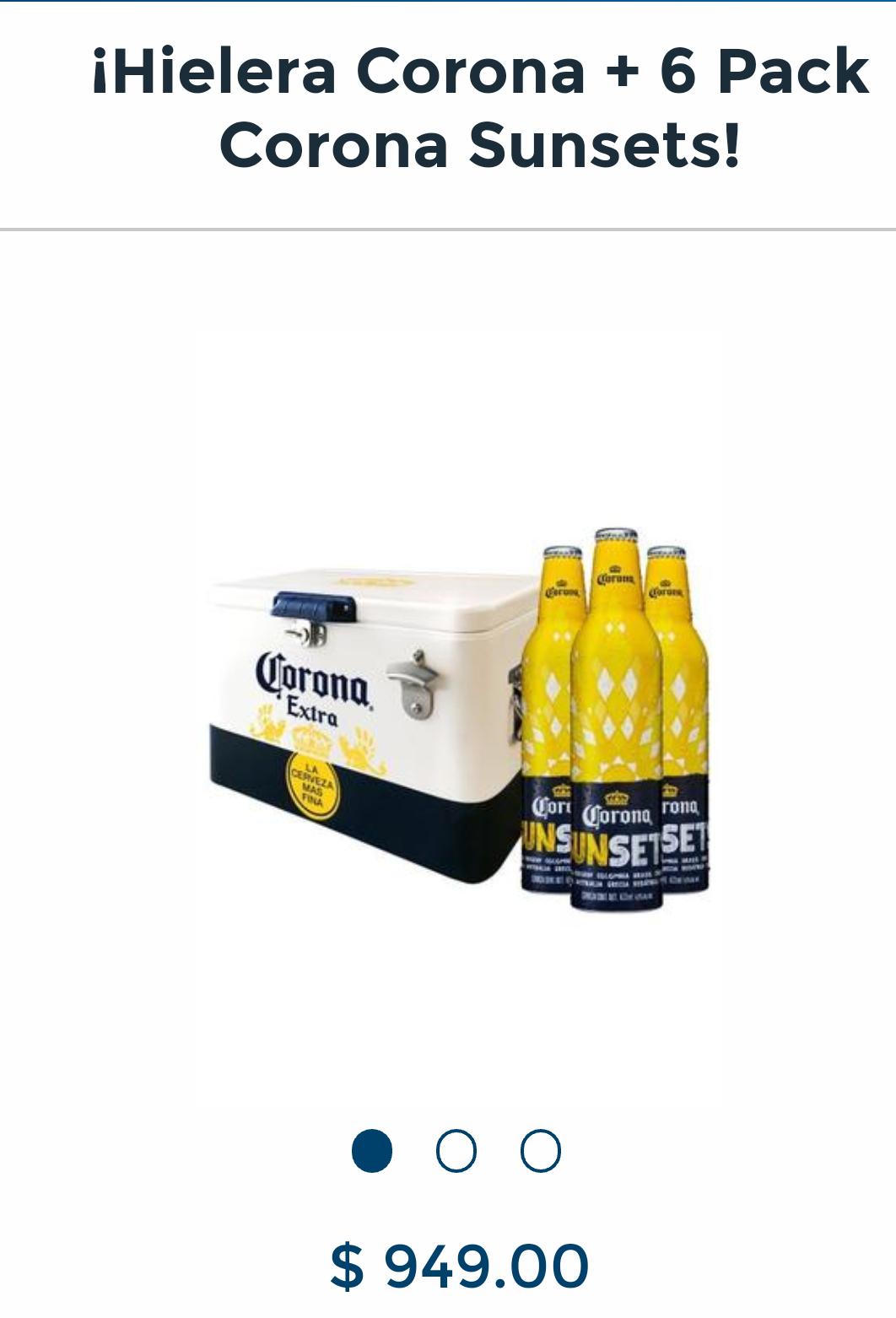 BeerHouse: Hielera corona + 6 corona Sun set + 4 cucapa sampler
