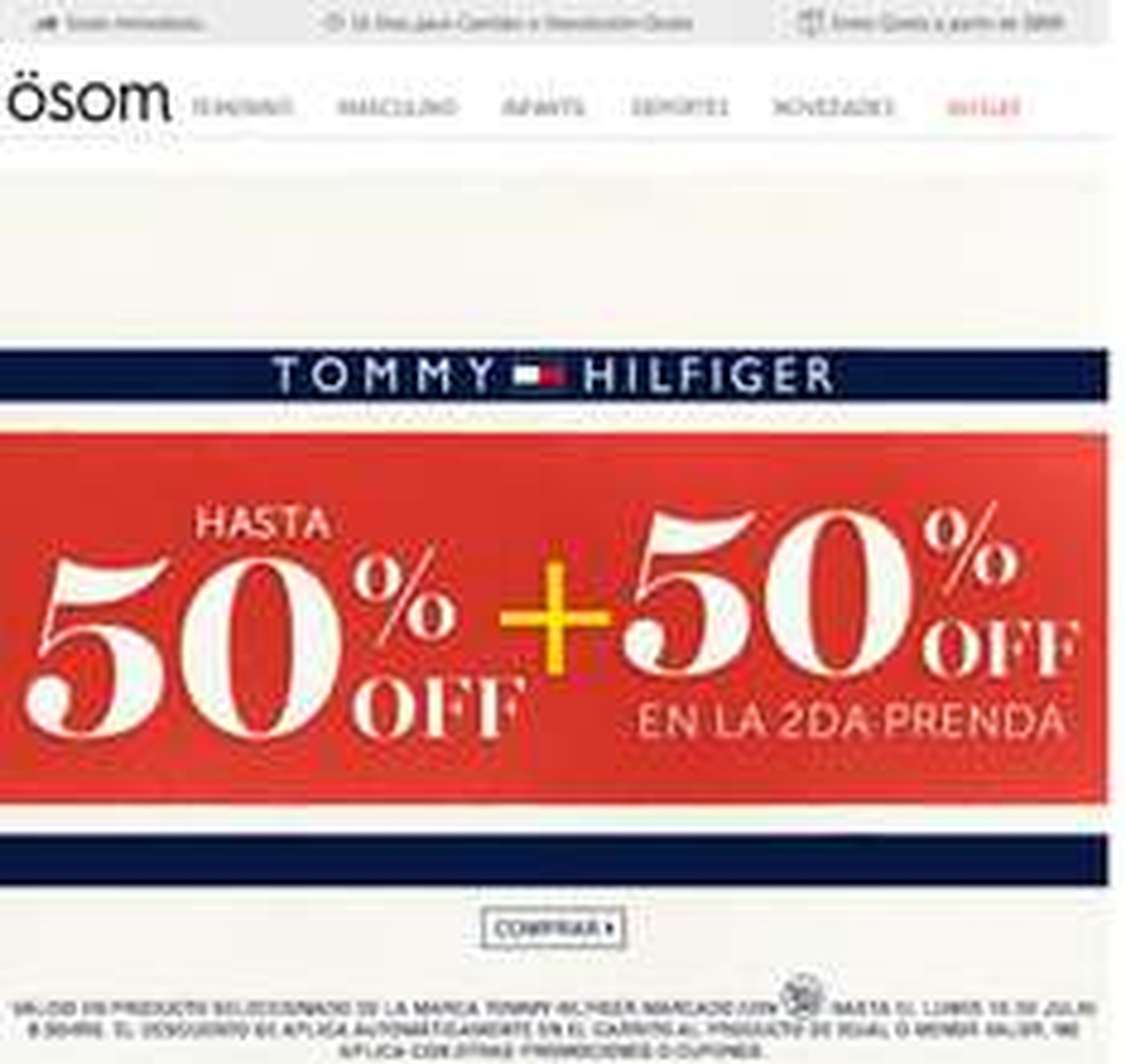 Osom: 50% + 50% en segunda prenda Tommy Hilfiger