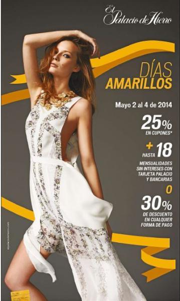 Días amarillos Palacio de Hierro del 2 al 4 de mayo: 30% de descuenbo
