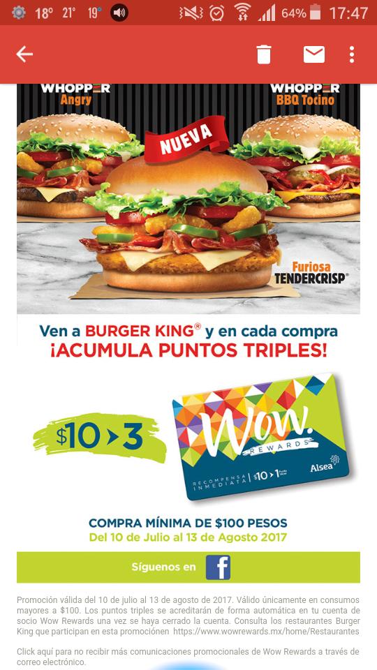 Wow rewards: puntos triples al comprar en burger king