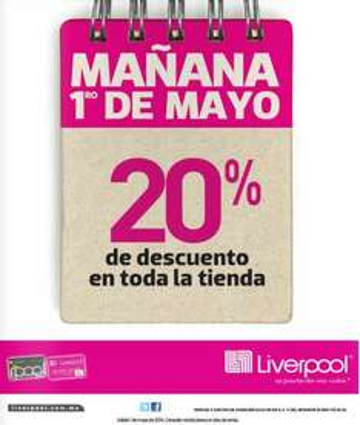 Liverpool: 20% de descuento en toda la tienda el 1 de mayo