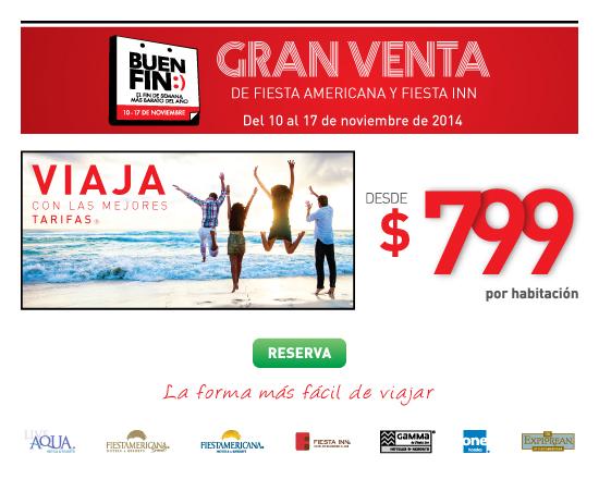 Ofertas del Buen Fin 2014 en hoteles Fiesta American, Fiesta Inn y One