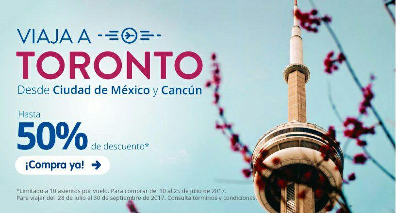 Interjet: 50% en Vuelos a Toronto (Ejemplo: desde Cancún a 3,317 redondo)