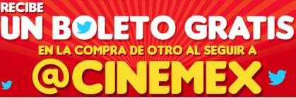 Cinemex: 2x1 al seguirlos en Twitter