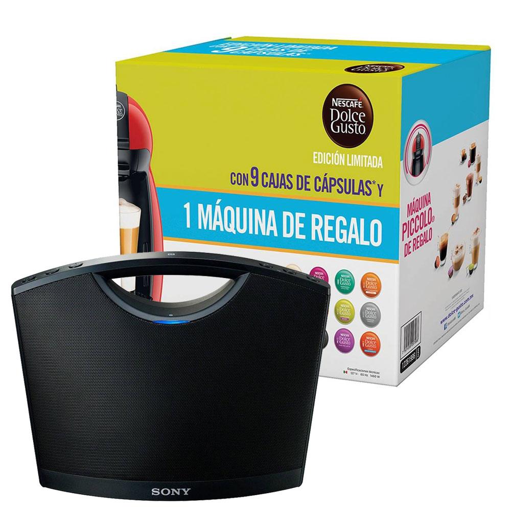Adelantos El Buen Fin Walmart: Bocina Bluetooth Sony + cafetera Dolce Gusto + 9 cajas de capsulas