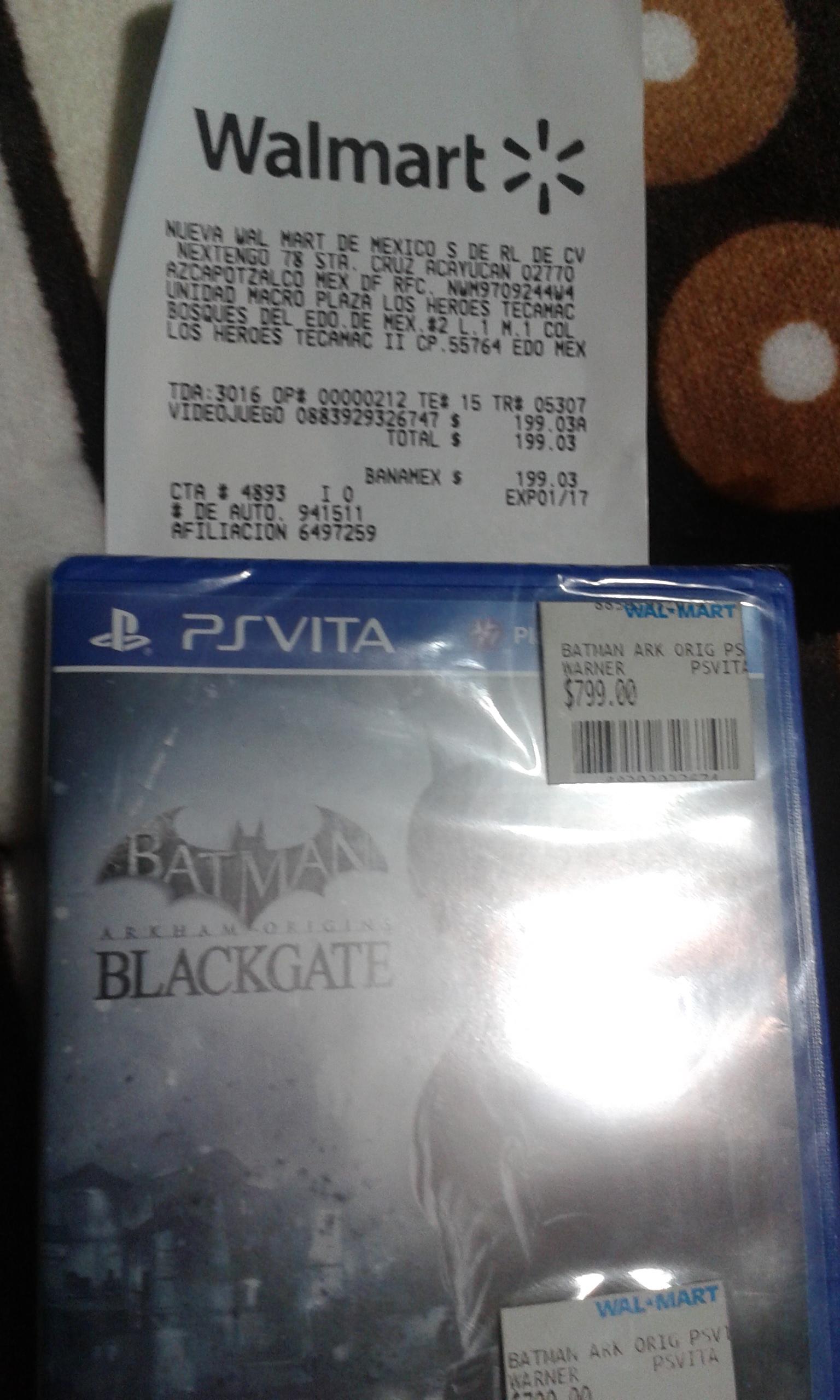 Walmart Batman: Arkam Origins Blackgate PSVita $199 y otros