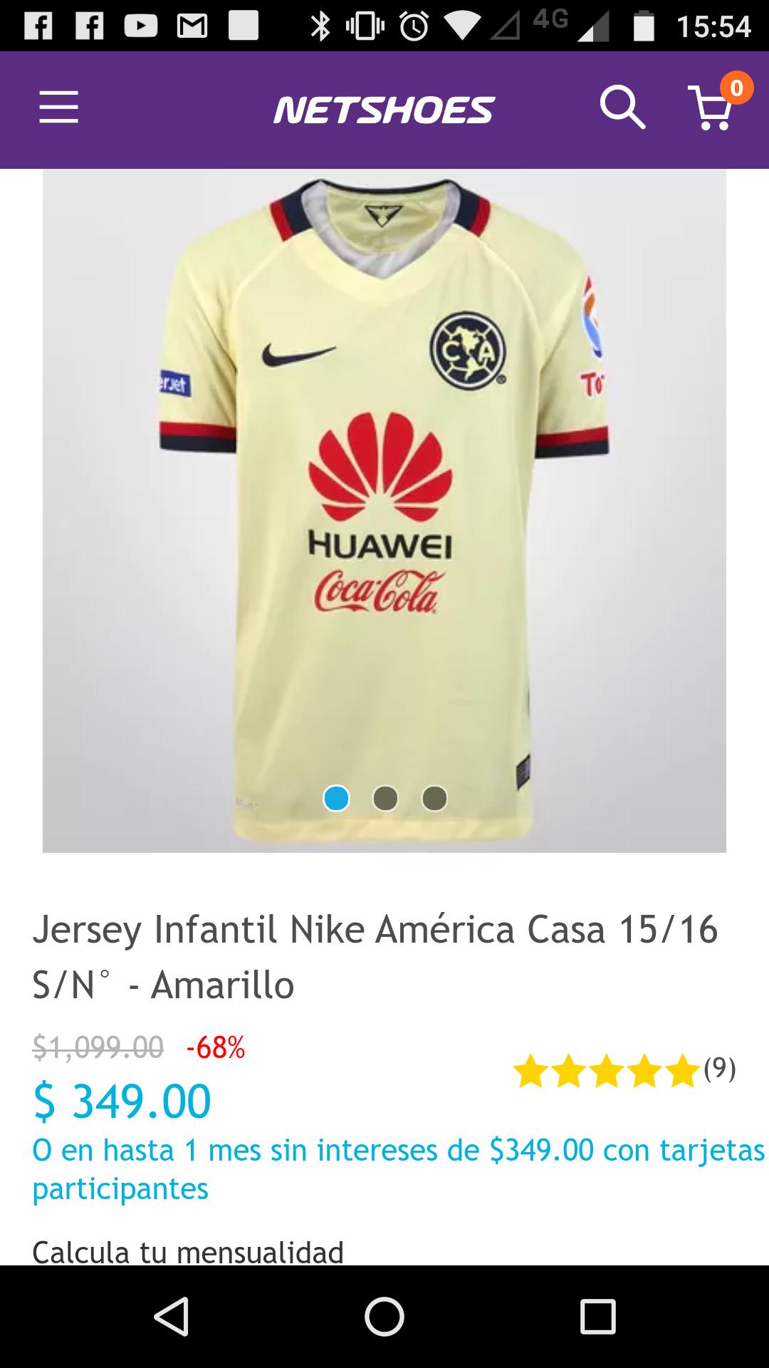 Netshoes: Jersey Infantil América 15-16
