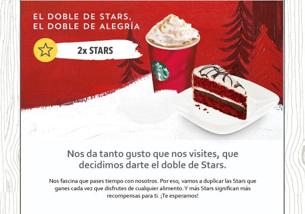 Doble de estrellas en tarjetas rewards Starbucks consumiendo alimentos en El Buen Fin