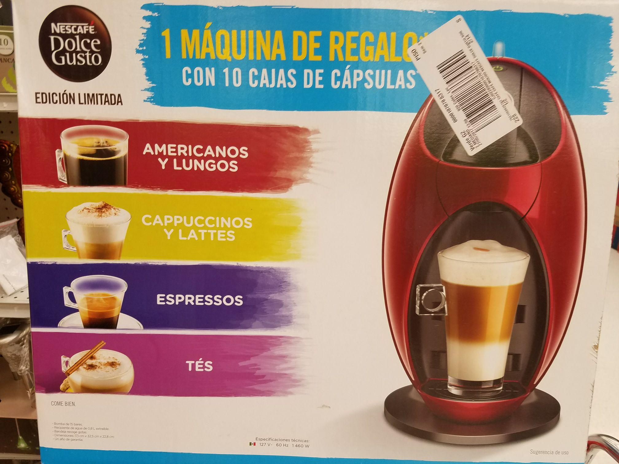 Soriana: Café Dolce Gusto 10 cajas con 16 cápsulas c/u a 998 pesos incluye máquina de regalo.. Aplica 3x2 quedando a 665 c/u