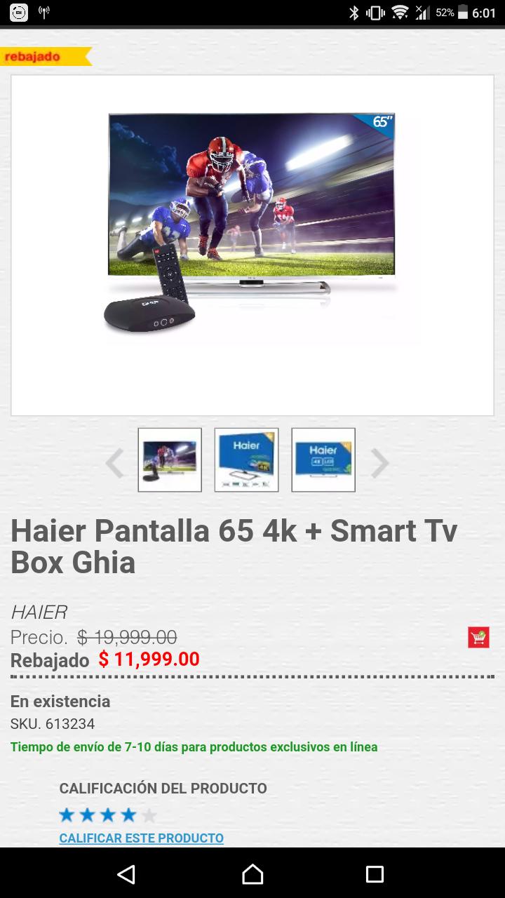 """HEB: Televisión Haier 65"""" 4k más box, aplicando cupón"""