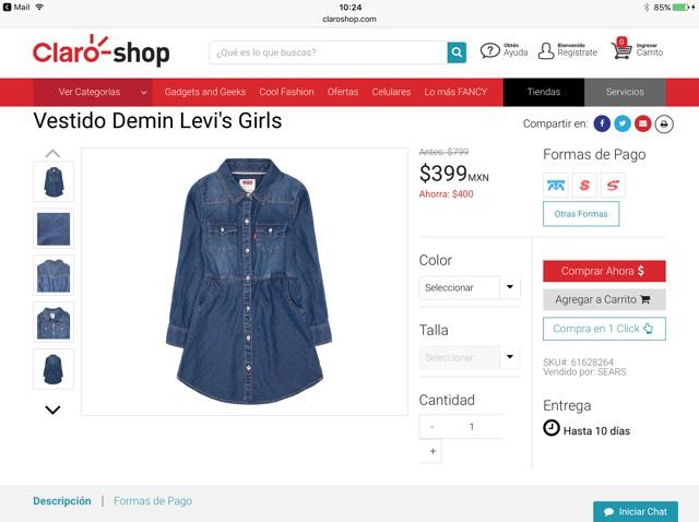 ClaroShop: Vestido Denim Levi´s Girls