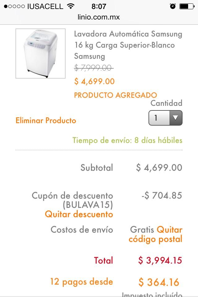 Linio: Lavadora Samsung de 16 kg $3,994 y envío gratis