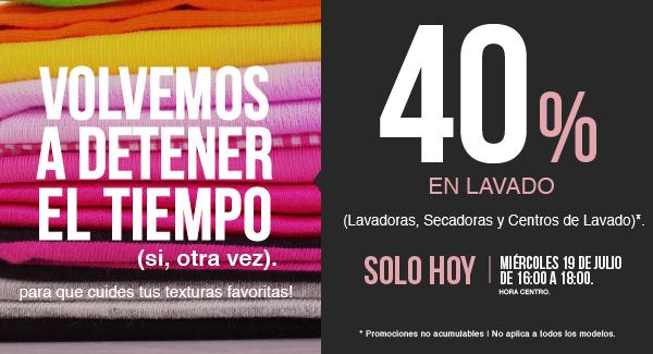 Tienda MABE en Linea:  ¡Miércoles de 40% en Lavadoras, Secadoras y Centros de Lavado! De 16:00 a 18:00 | Paga a 3 y 6 MSI con tarjetas de crédito participantes