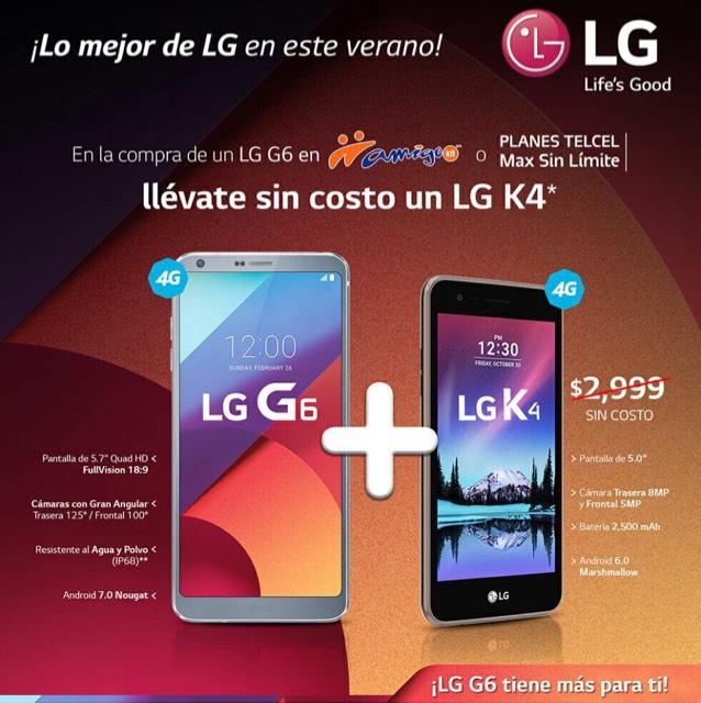 Telcel: Celular Lg k4 gratis comprando Lg G6