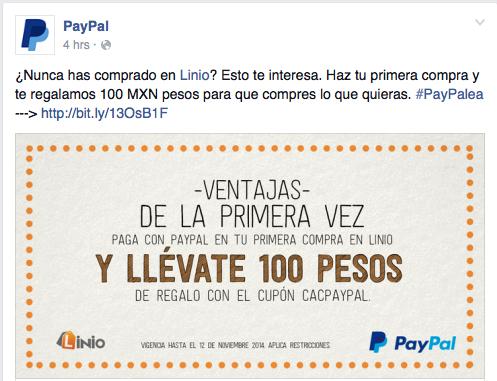 PayPal + Linio + Primera Compra = $100.00 Gratis