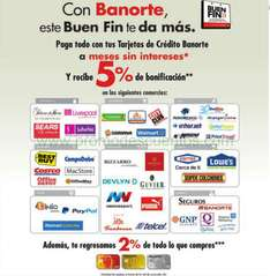 Promociones del Buen Fin 2014 en Banorte e IXE: 5% de bonificación