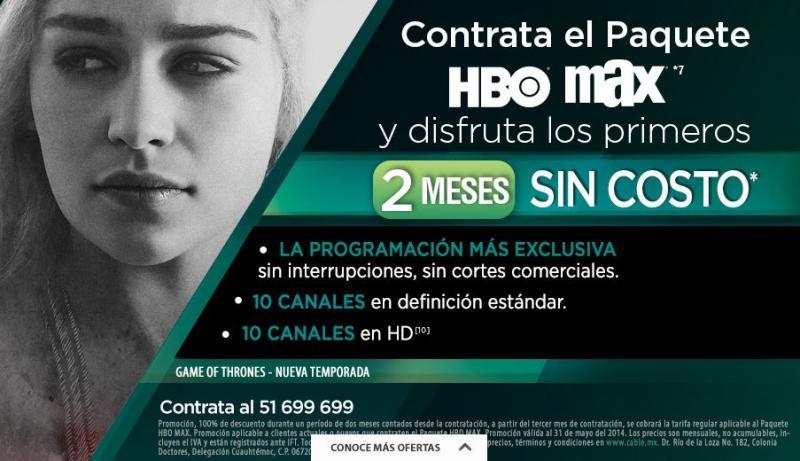 Cablevisión: 2 meses gratis de canales HBO y MAX