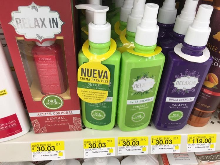 Walmart Mty: Cremas y aceite Relax In