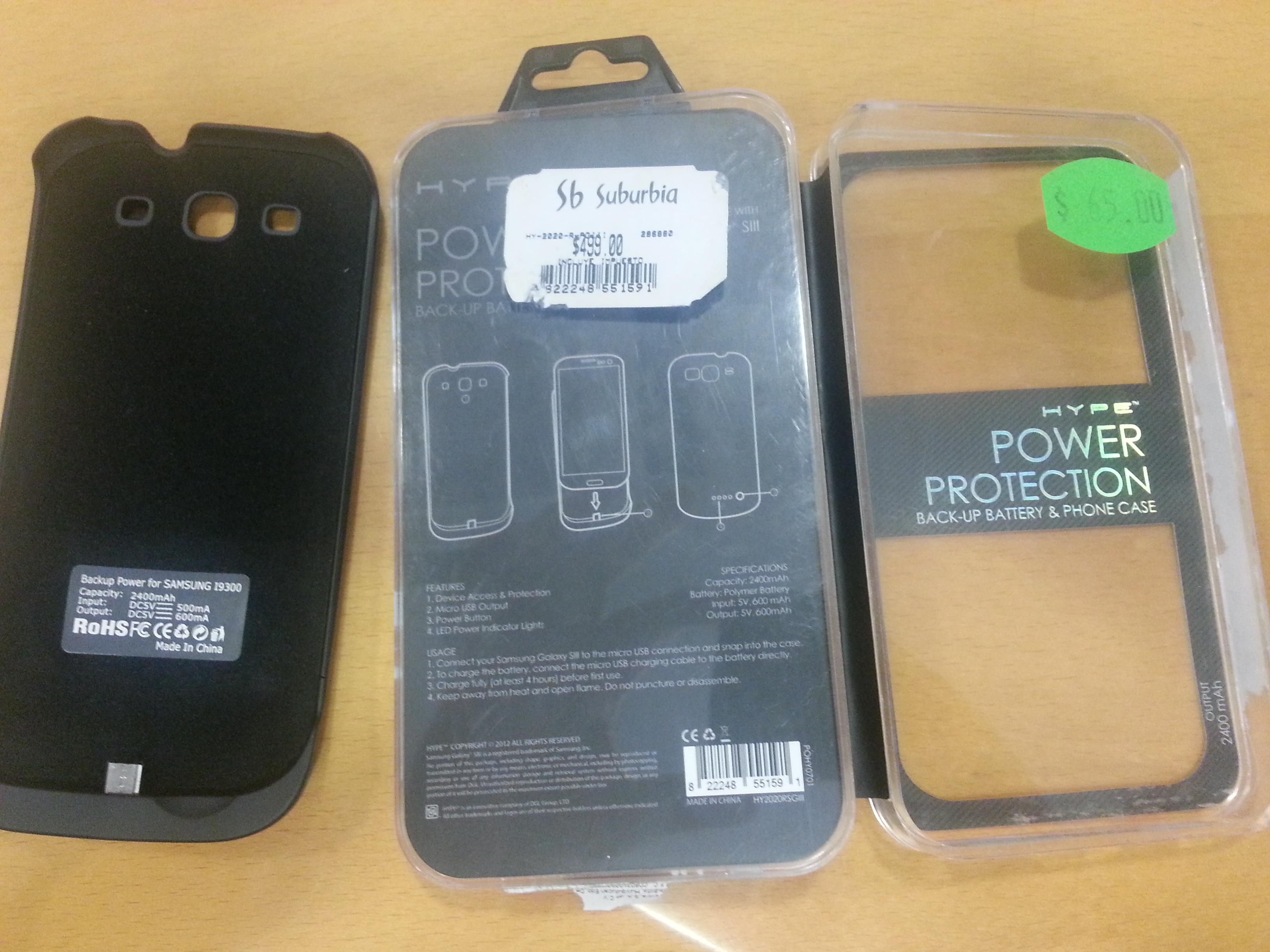 Suburbia: funda bateria para Samsung Galaxy S3 $65