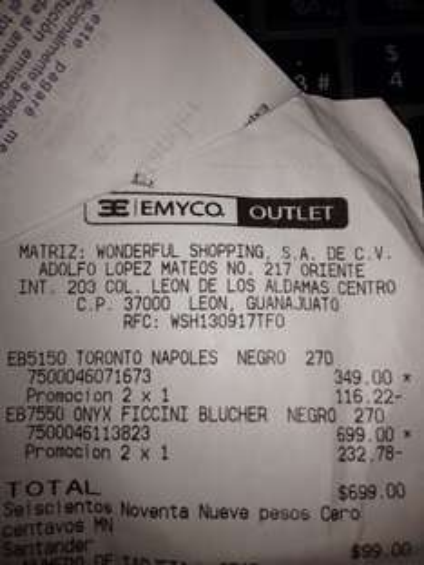 EMYCO outlet: 2x1 en zapatos Caballero y Dama desde $500 pesos