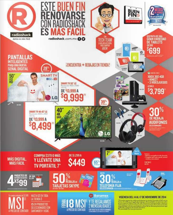 Ofertas del Buen Fin 2014 en RadioShack: TV portártil $449 con compra mínima