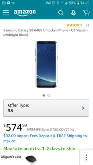 Amazon USA: Samsung Galaxy S8 64GB Unlocked Midnight Black