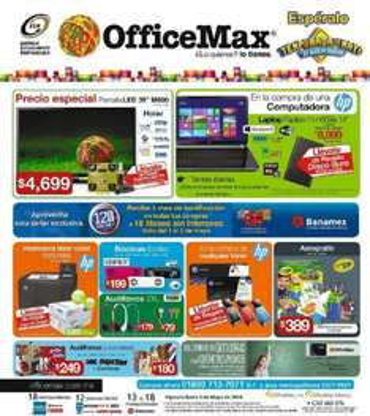 """OfficeMax: pantalla LED 39"""" con soporte $4,699, gratis USB comprando tóner y más"""