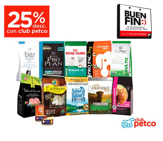 Ofetas del Buen Fin en PETCO: Alimento premium para perros y gatos 25% de descuento