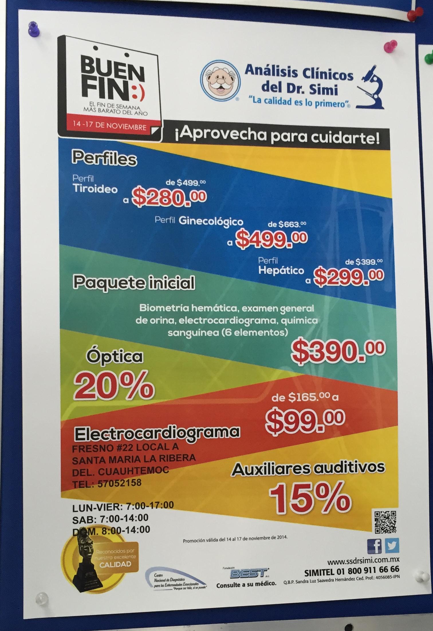 Promociones del Buen Fin en Análisis Clínicos del Dr. Simi
