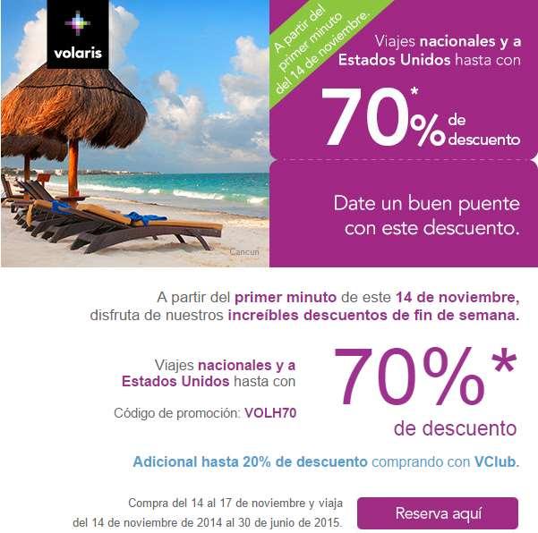 Promoción del Buen Fin 2014 en Volaris: 70% de descuento